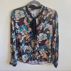 Zara Floral Neck Tie Long Sleeve Blouse Small